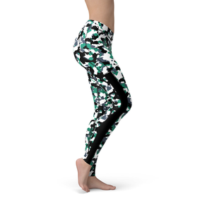 Veronica Mesh Green White Camo Leggings - Frugal Bob's