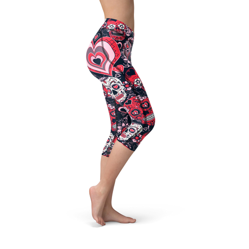 Nellie Yoga Valentine Sugar Skulls Capri Leggings - Frugal Bob's