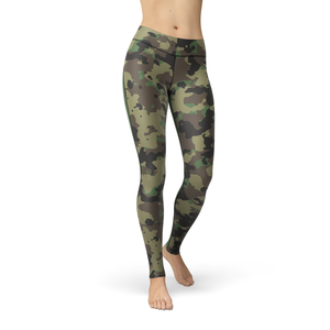 Catrina Dark Green Camo Leggings - Frugal Bob's