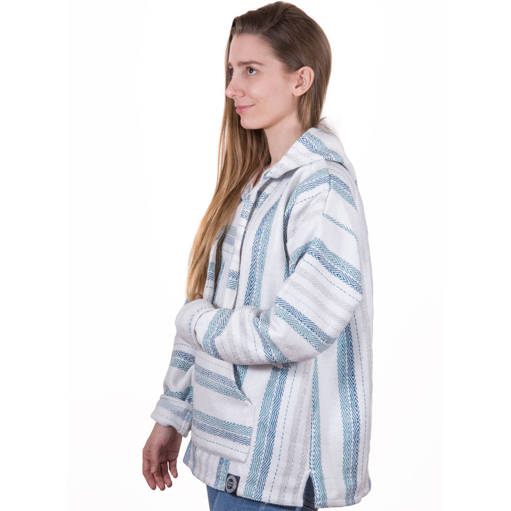 Bulky Baby Blue and Gray Baja Hoodie