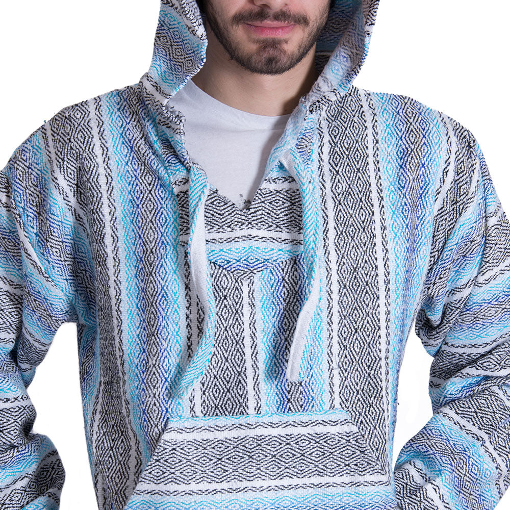 Threaded Baby Blue and White Baja Hoodie