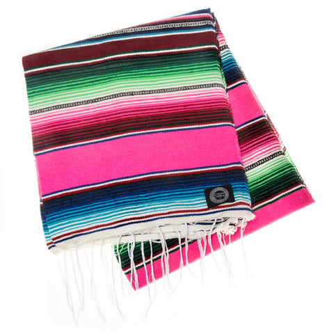 pink and blue mexican blanket