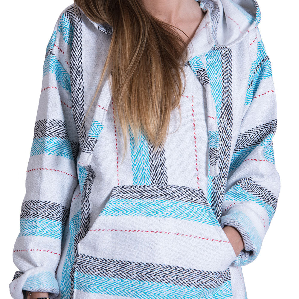 Interlaced Black and Teal Baja Hoodie