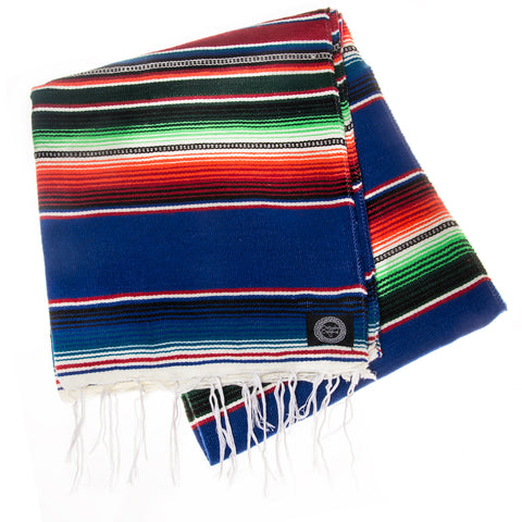 blue and green mexican blanket