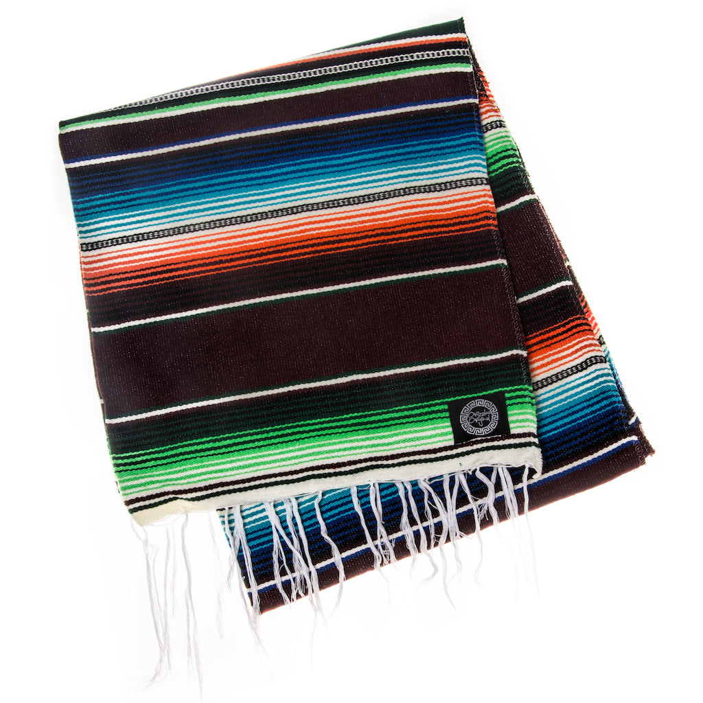 black green and red mexican blanket