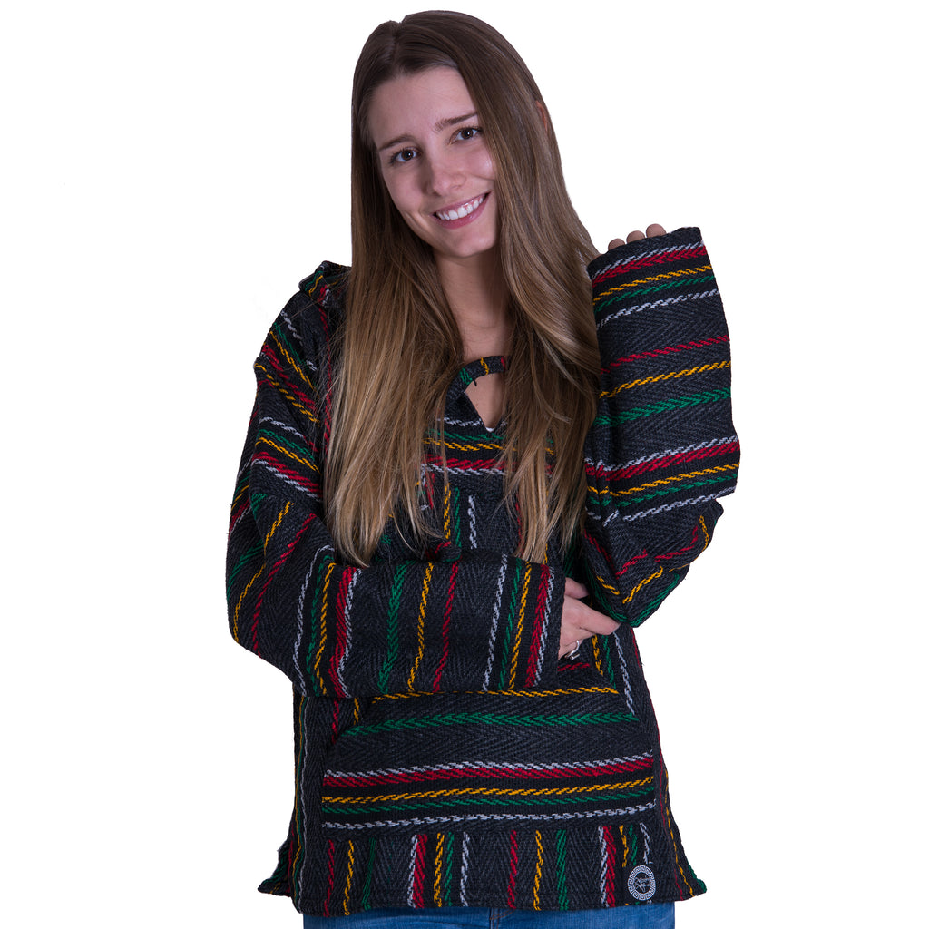 Rasta Black and Grey Baja Hoodie