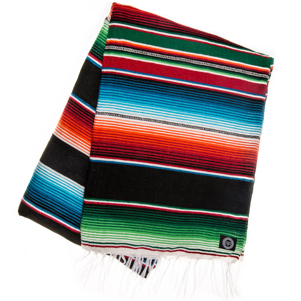green orange and red Mexican blanket