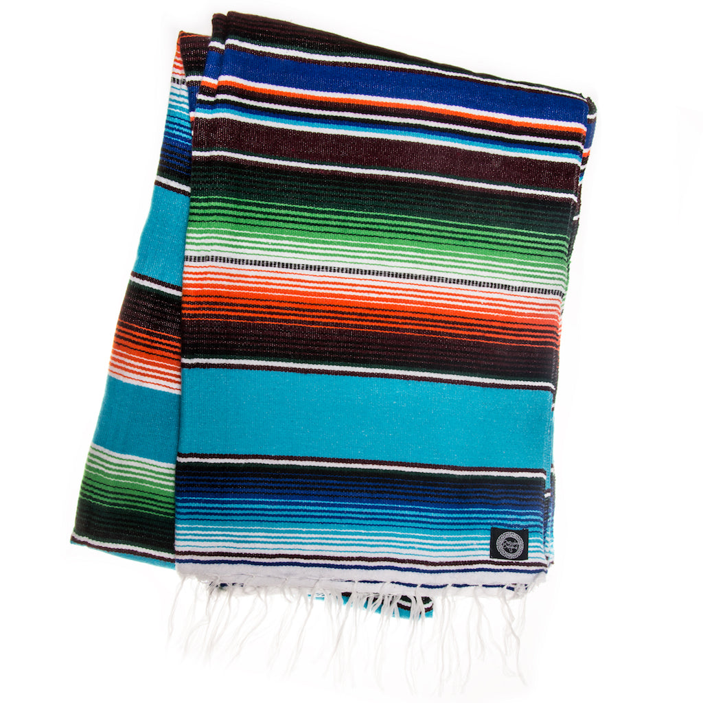 turquoise green orange mexican blanket