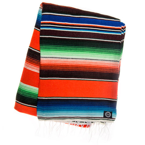 orange blue green serape