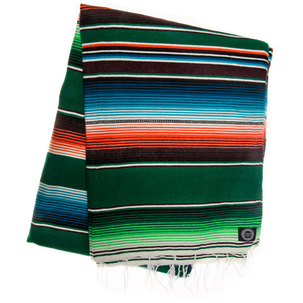 green red and blue Mexican Blanket