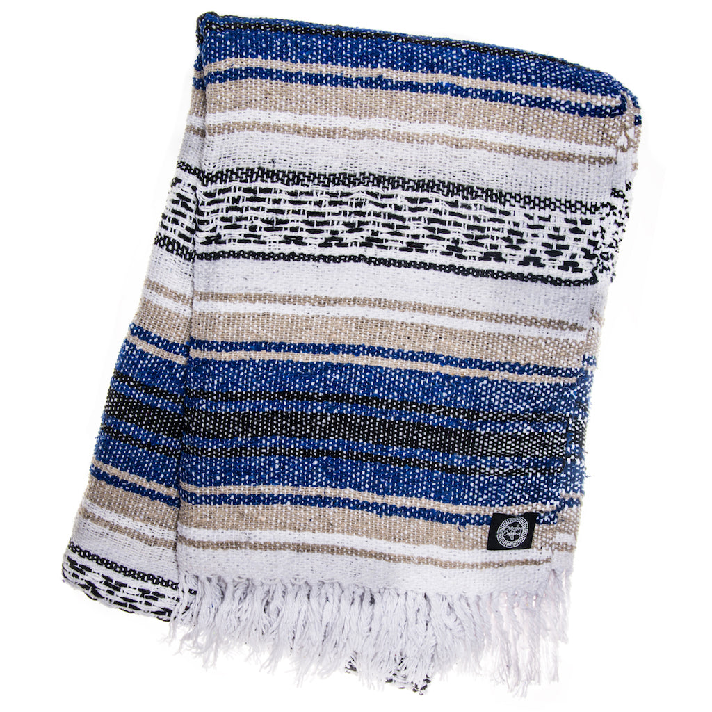 blue and brown falsa mexican blanket