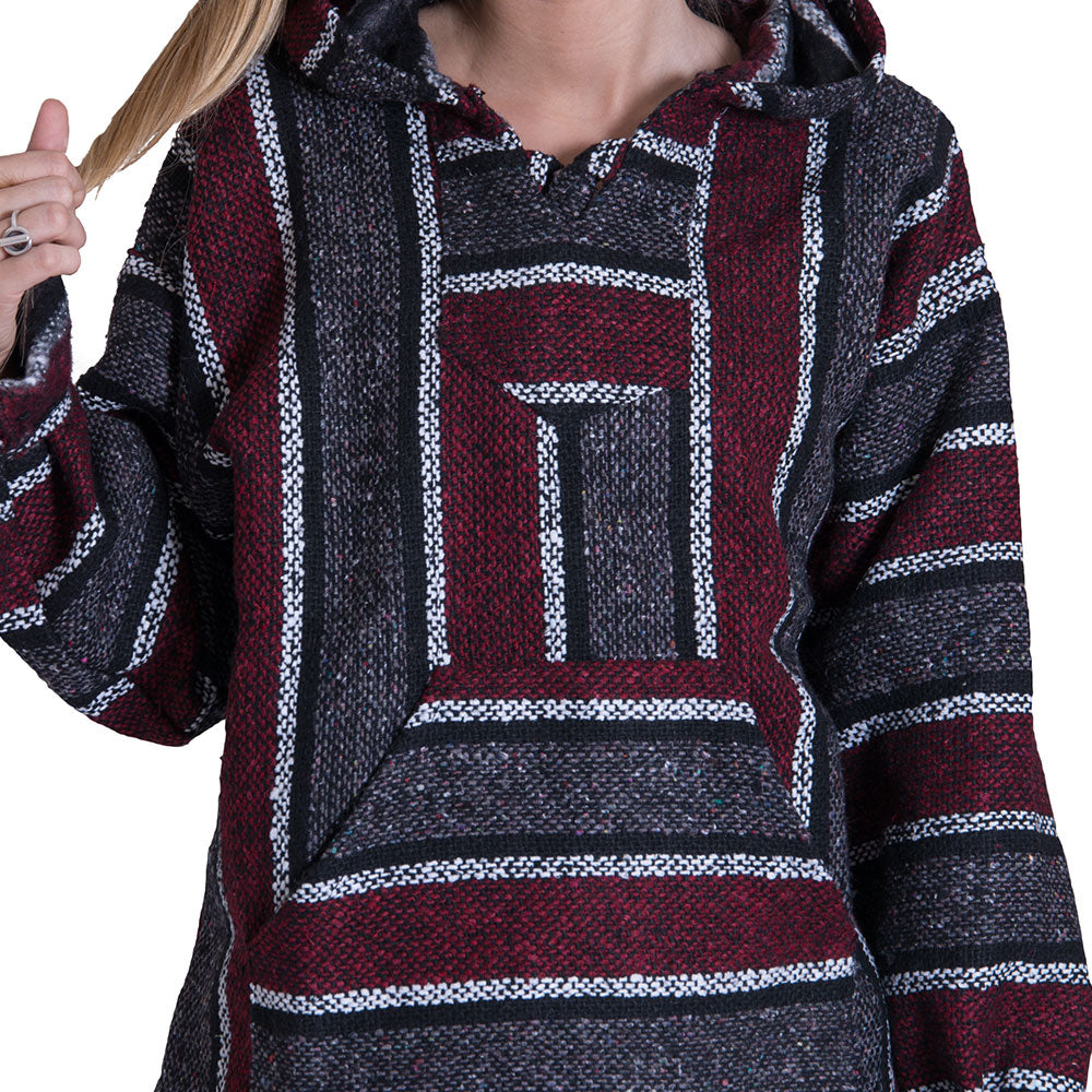 Maroon and Black Brushed Drug Rug