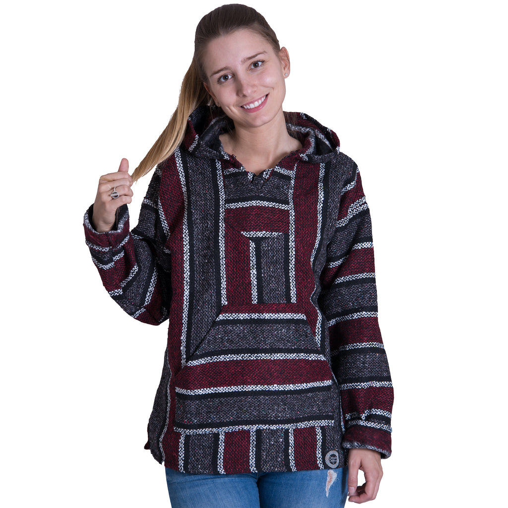 Durable Maroon and White Drug Rug