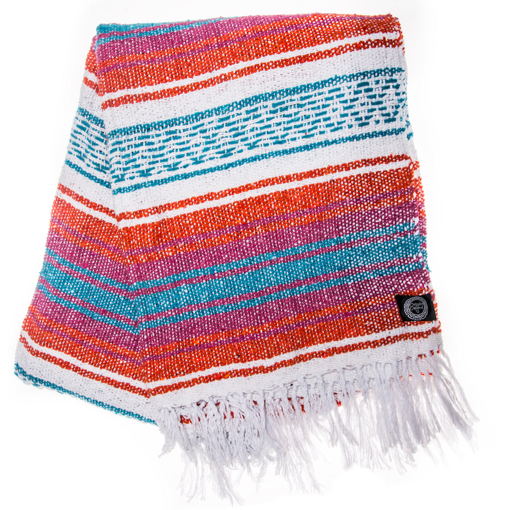 red blue orange and turquoise Mexican blanket