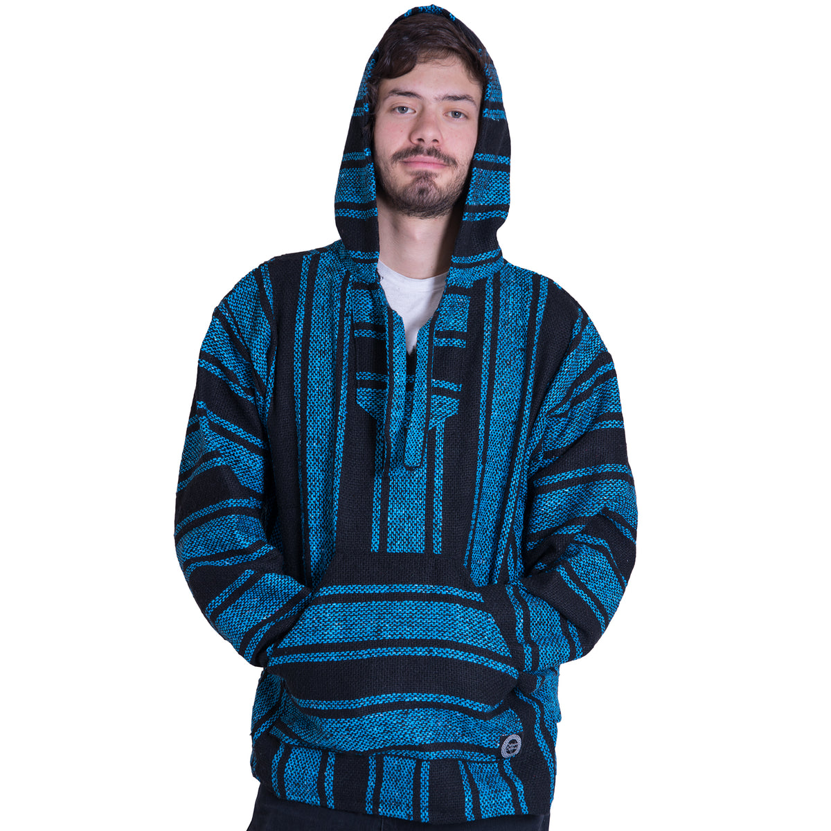 Details about AUTHENTIC MEXICAN PONCHO HOODIE SWEATER FROM MEXICO BLACK BLUE FLANNEL LARGE