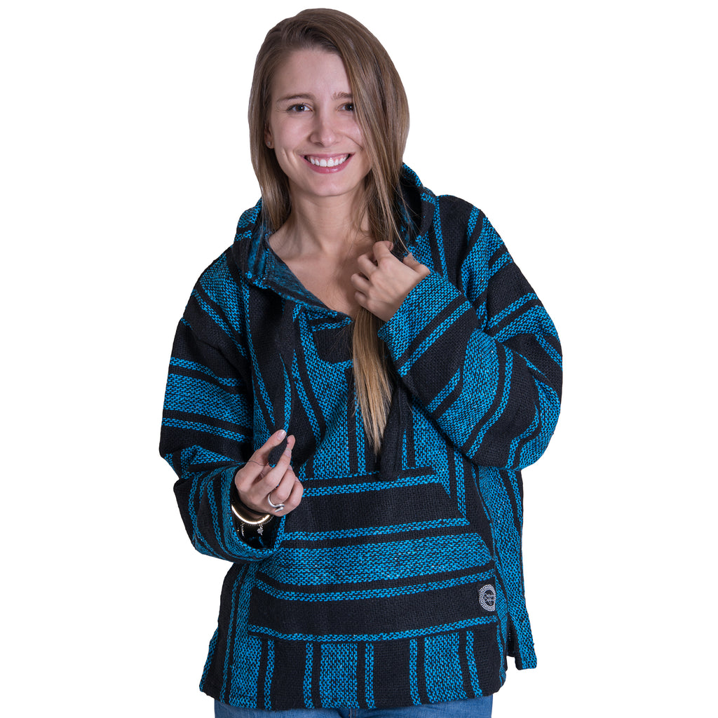 Surf Stlye Light Blue and Black Baja Poncho