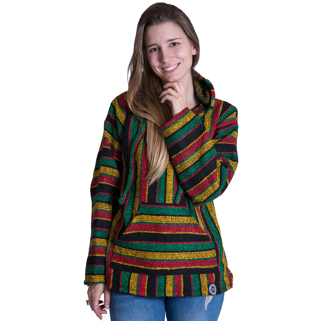 Rasta Yellow and Green Striped Baja Hoodie