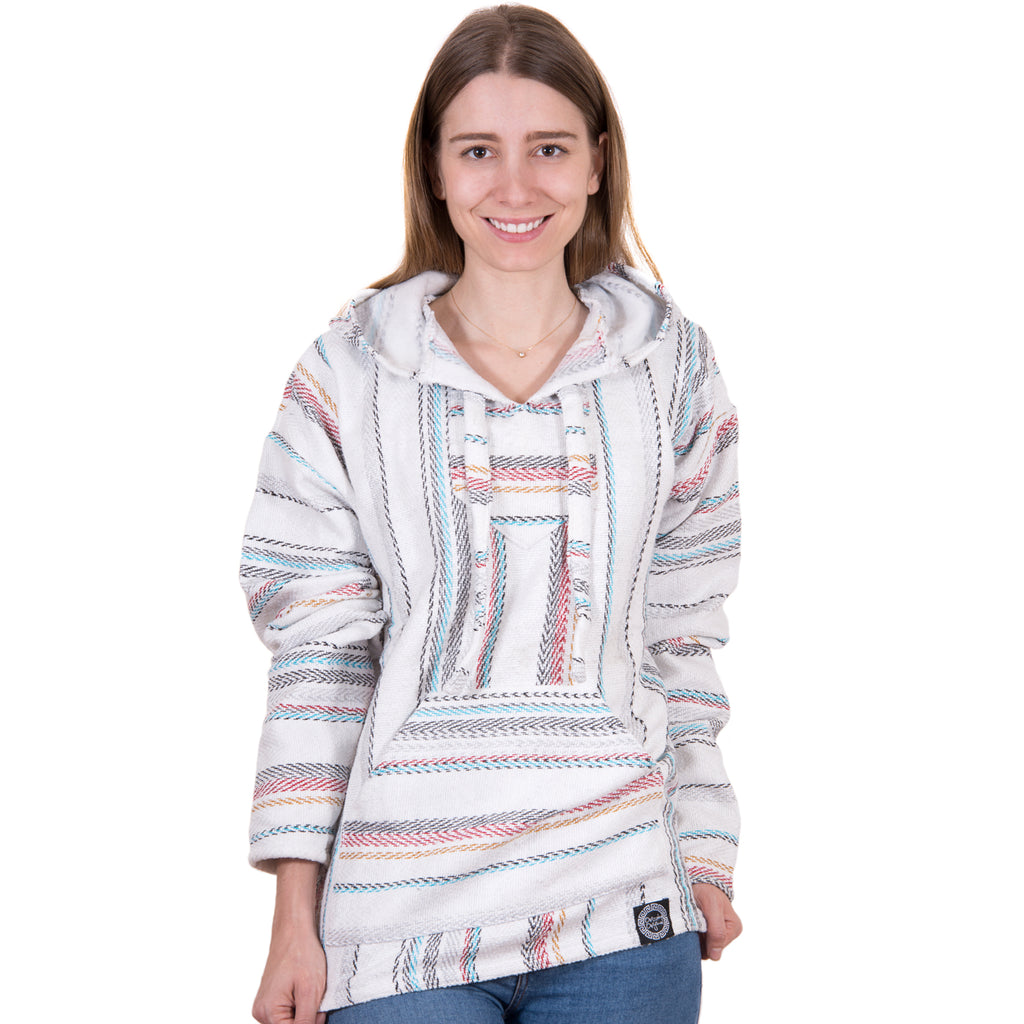 Colorful Grey and Blue Baja Hoodie