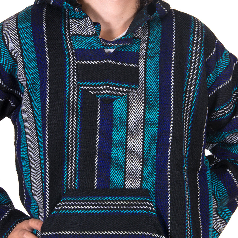 Sustainable Teal and White Drug Rug