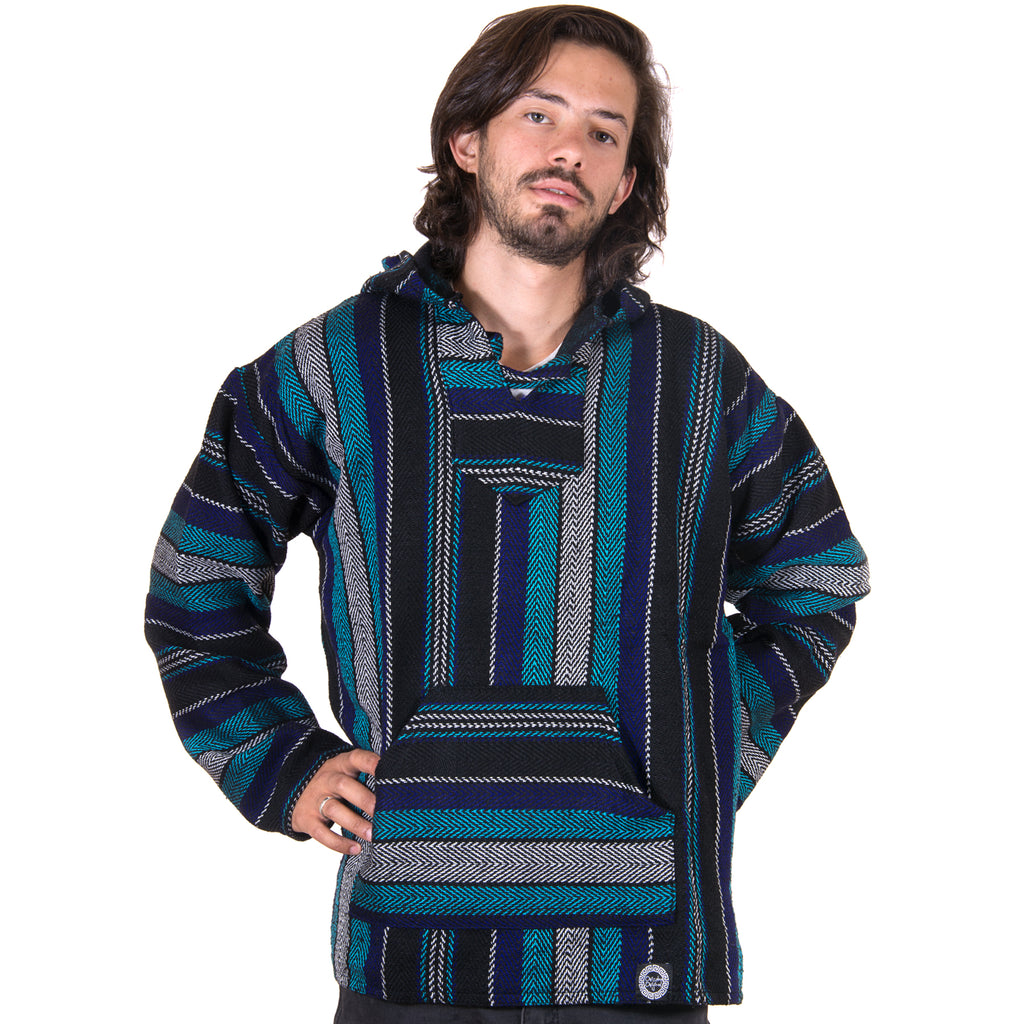 Pigment Dyed Teal and Black Drug Rug