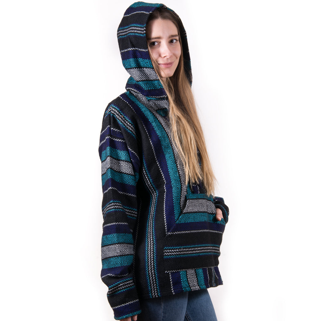 Festival Style Blue and Teal Drug Rug