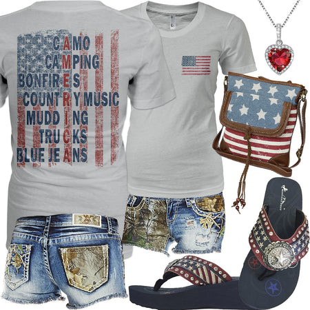 American Flag Realtree Jean Shorts Outfit