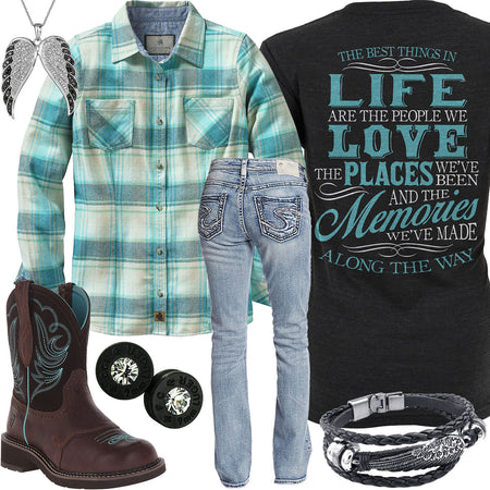 Best Things In Life Glacier Plaid Flannel Outfit