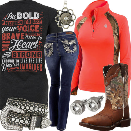 Bold, Brave & Strong Legendary Whitetails 1/4 Zip Outfit