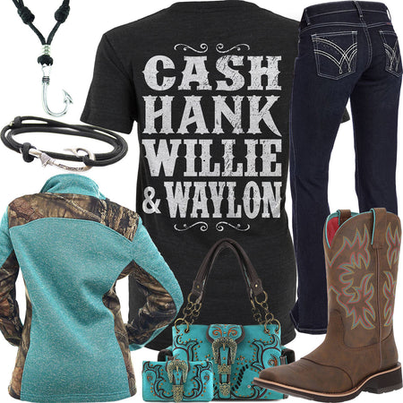 Cash Hank Willie & Waylon Fish Hook Necklace Outfit