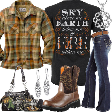 Fire Within Me Rustic Plaid Shirt Outfit