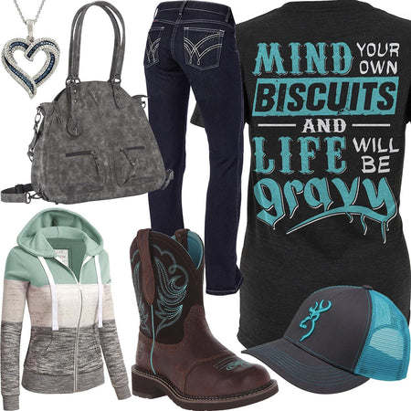 Mind Your Own Biscuits Browning Handbag Outfit