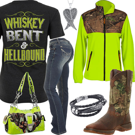 Whiskey Bent & HellBound Lime Camo Jacket Outfit