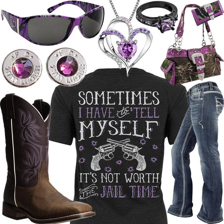 Not Worth The Jail Time Purple Heart Necklace Outfit