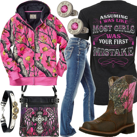 Your First Mistake Pink Camo Hoodie Outfit
