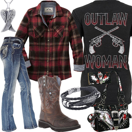 Outlaw Woman Plaid Flannel Shirt Outfit