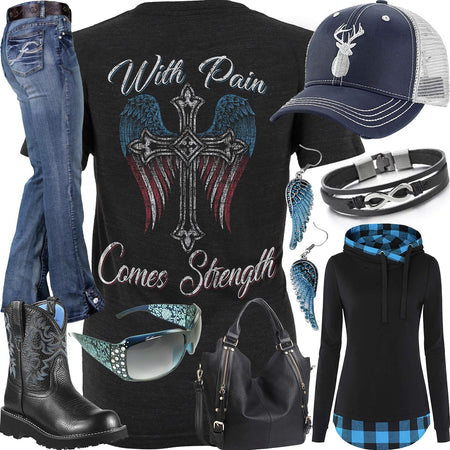 With Pain Comes Strength Blue Plaid Hoodie Outfit