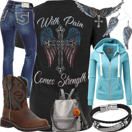 With Pain Comes Strength Aqua Hoodie Outfit