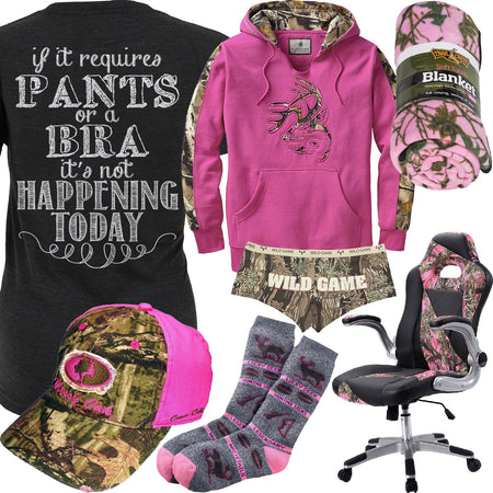 Pants Or A Bra Mossy Oak Pink Camo Hat Outfit