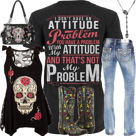 Not My Problem Skull Outfit