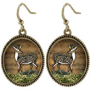 Deer Oval Earrings