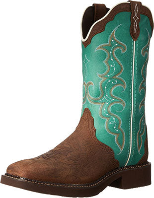 Justin Boots Barnwood Brown Cow/Turquoise