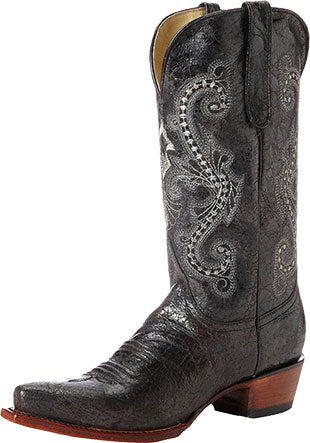 Ferrini Black Distressed Cowhide Western Boot
