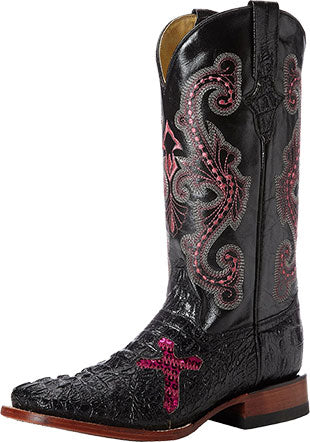 Ferrini Black/Pink Cross Crocodile Boot