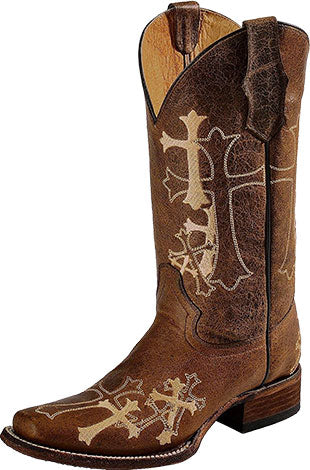 Circle G Cross Embroidered Square Toe Boot