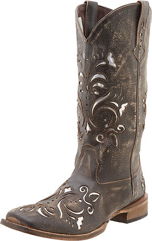 Roper Tan/Silver Metallic Underlay Boot