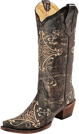 Corral Black Crackle Scroll Embroidery Boot
