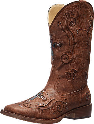 Roper Brown Crossed Out Western Boot