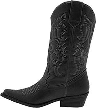 Faux Leather Black Western Cowboy Boots