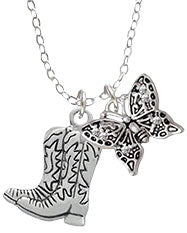 Boots and Butterfly Necklace