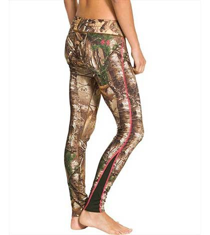 6e950c6c39766e Under Armour ColdGear® Infrared EVO Legging comes in your choice of two  camo prints, Mossy Oak Treestand and RealTree AP-XTRA. Both prints feature  a pink ...